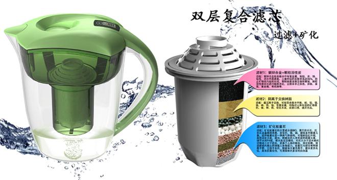 过滤水壶 复合滤芯设计